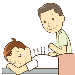鍼灸施術をしているイラスト